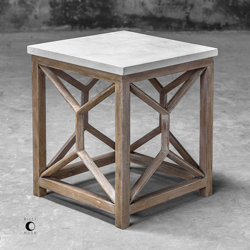 Geometric Accent Table With Natural Limestone Top