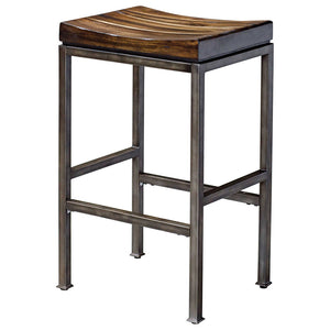 Industrial Bar Stool with Solid Hardwood Seat