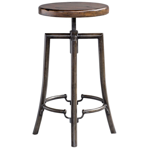 Industrial Round Bar Stool with Adjustable Hardwood Seat