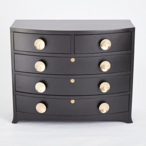Bow Front 5-Drawer Dresser – Ebony
