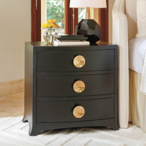 Bow Front 3-Drawer Chest – Ebony
