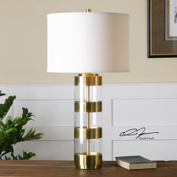 Banded Glass Table Lamp - Gold