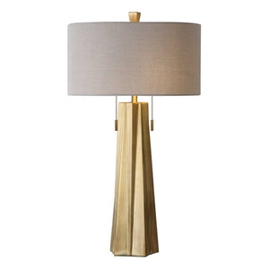 Pleated Table Lamp – Antique Brass