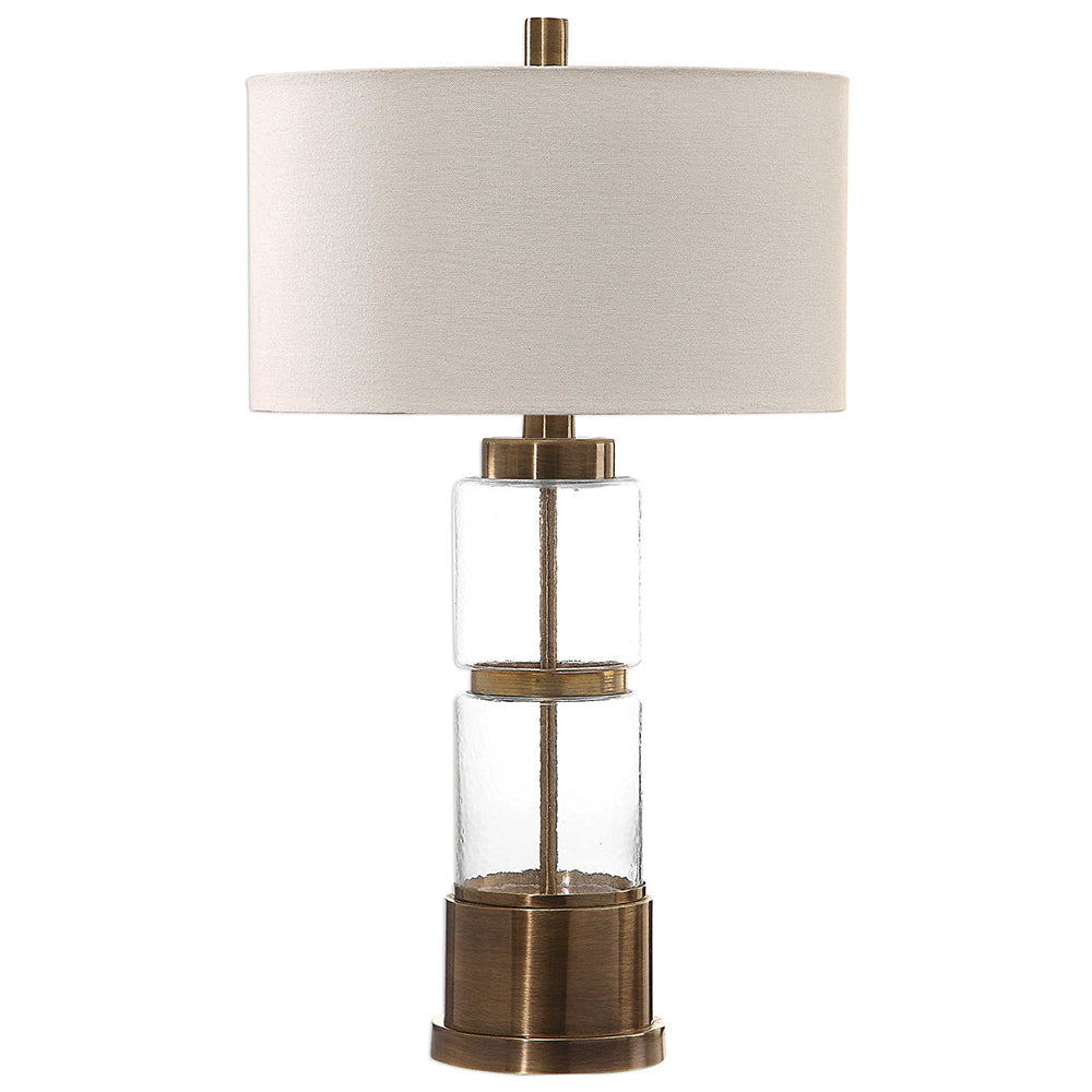 Stacked Glass Column Table Lamp with White Drum Shade