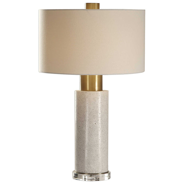 Concrete Column Table Lamp with Brushed Brass Details