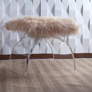 Worlds Away Lucite Stool with Fur Cushion – Natural
