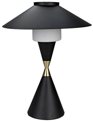 Lucia Table Lamp - Black Metal with Brass Detail