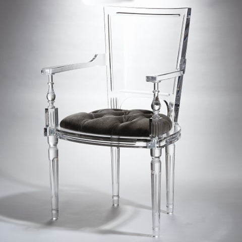 Clear Acrylic Arm Chair - Pewter Mohair Cushion