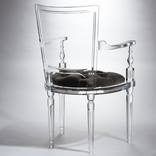 Clear Acrylic Armchair - Black Mohair Cushion