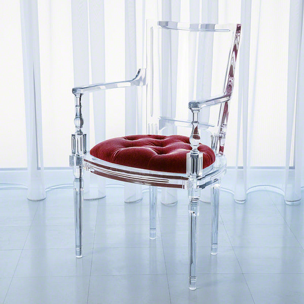 Clear Acrylic Arm Chair - Red Mohair Cushion