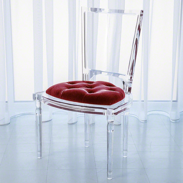 Clear Acrylic Side Chair - Red Mohair Cushion