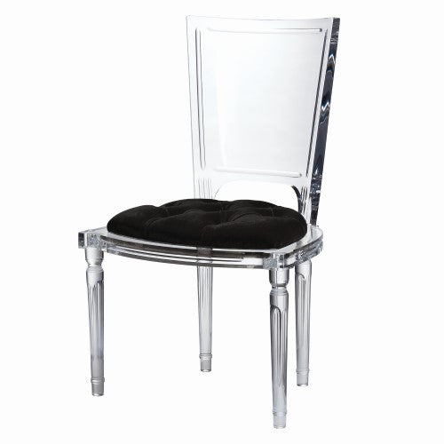Clear Acrylic Side Chair - Black Mohair Cushion
