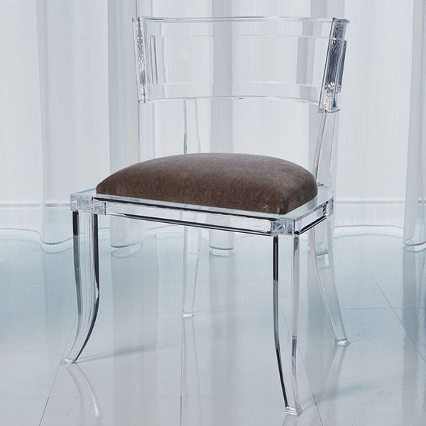 Clear Acrylic Curved Back Chair - Pewter Mohair Cushion
