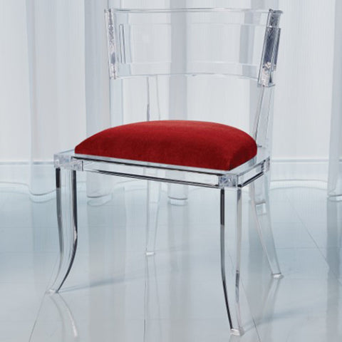 Clear Acrylic Curved Back Chair - Red Mohair Cushion