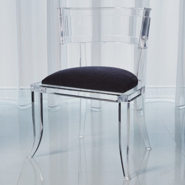 Clear Acrylic Curved Back Chair - Black Mohair Cushion
