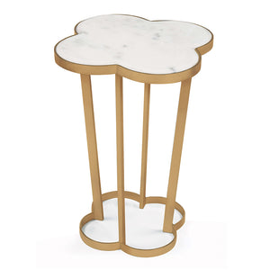 Regina Andrew Clover Table with Marble Top - Natural Brass