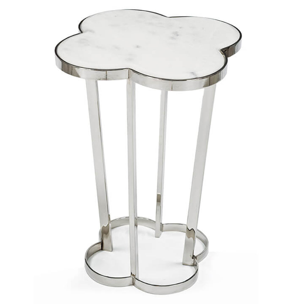 Regina Andrew Clover Table with Marble Top - Polished Nickel