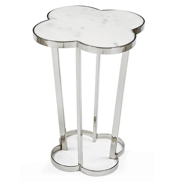Regina Andrew Clover Table with Marble Top – Polished Nickel