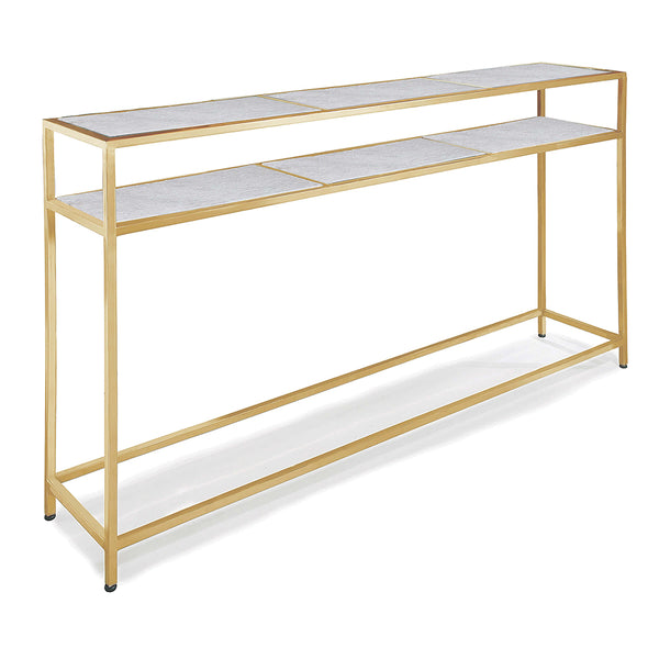 Regina Andrew Slim Console with Marble Shelves – Natural Brass