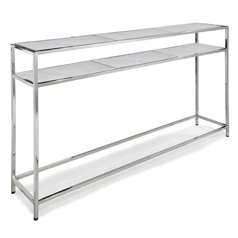 Regina Andrew Slim Console with Marble Shelves – Polished Nickel