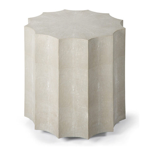 Regina Andrew Scalloped Column End Table – Ivory Faux Shagreen