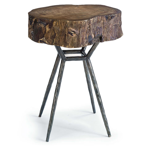 Regina Andrew Petrified Wood Accent Table with Iron Legs