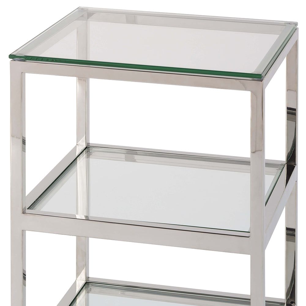 Regina Andrew 3 Tier Glass Top Side Table On Casters Polished Nickel