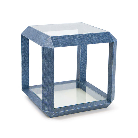 Regina Andrew Resin Weave Glass Top End Table – Indigo