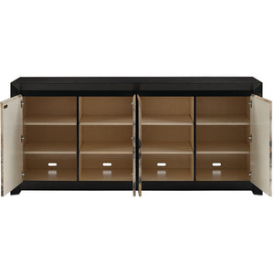 Currey and Company Oak & Vellum 4-Door Credenza