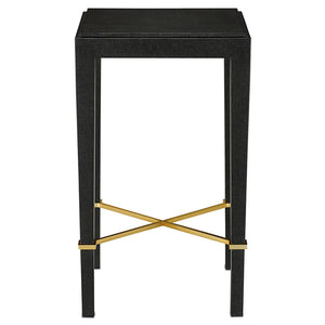 Currey and Company Black Lacquered Linen Drinks Table