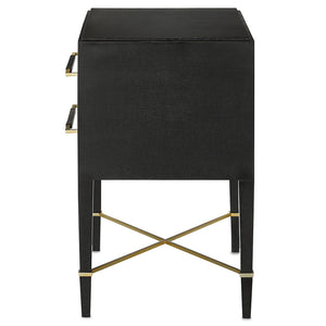 Currey and Company Black Lacquered Linen Two-Drawer Nightstand