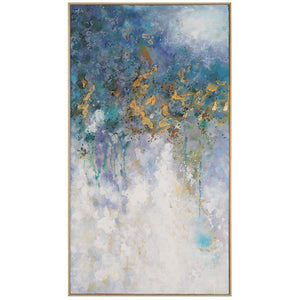 Rectangular Hand-Painted Textured Artwork on Canvas