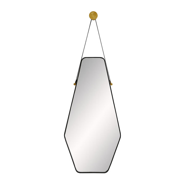 Arteriors Ripley Irregular Hexagon Mirror with Leather Hanging Strap