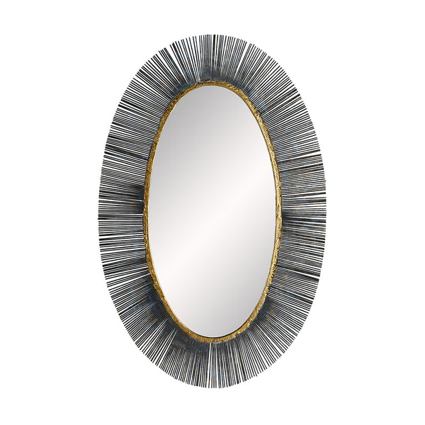Arteriors Perseus Oval Sunburst Mirror with Brass Edging