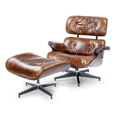 Regina Andrew Leather Lounge Chair with Ottoman – Brown