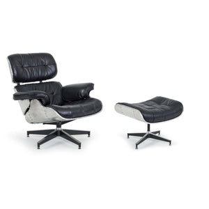 Regina Andrew Aluminum & Leather Lounge Chair with Ottoman - Black