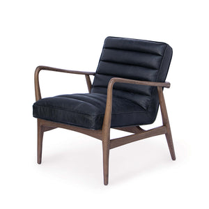 Regina Andrew Channeled Leather Chair with Wood Frame – Black