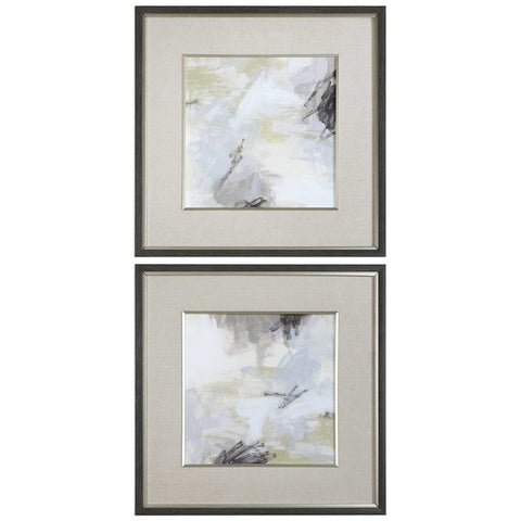 Square Abstract Prints in Linen Mats – Set of 2