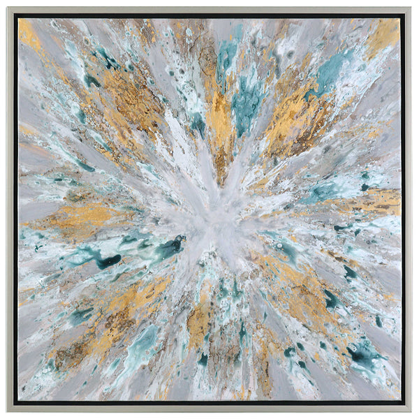 Abstract Starburst Wall Art with Gold Accents