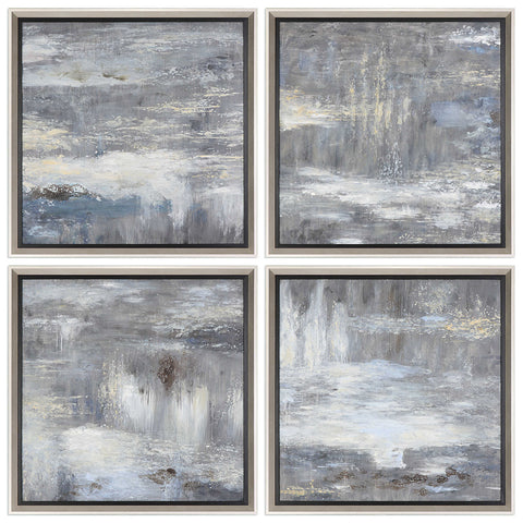 Square Abstract Hand-Painted Artwork – Set of 4