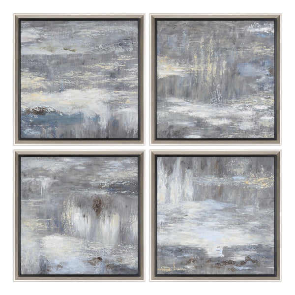 Multi-Panel Abstract Greys Artwork – Set of 4
