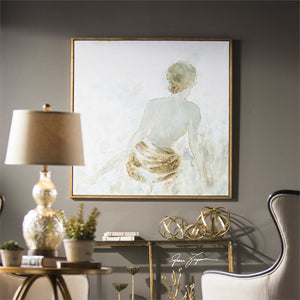 Oversized Impressionist Artwork with Gold Leaf Highlights