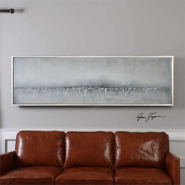 Oversized Coastline Artwork – Neutral Tones