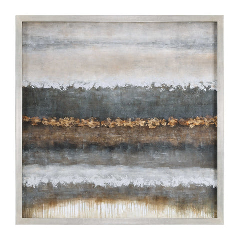 Oversized Abstract Layers Artwork – Grey & Bronze