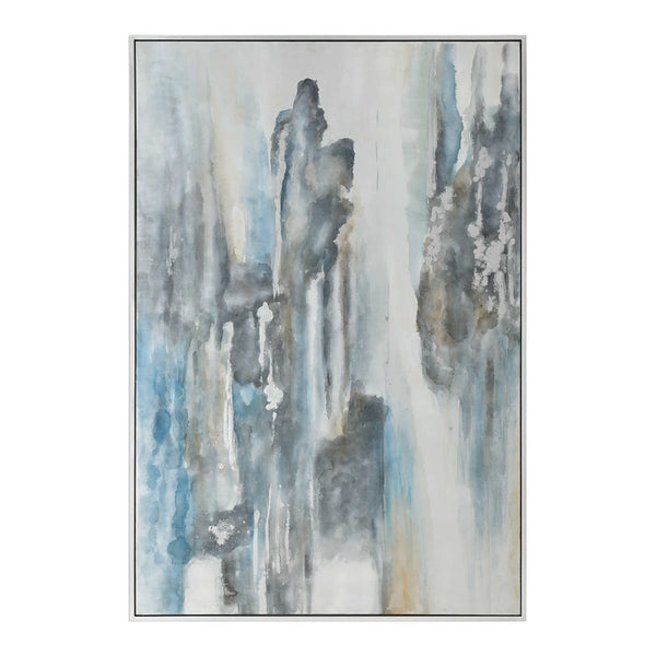 Oversized Abstract Running Colors Artwork – Blue & Grey