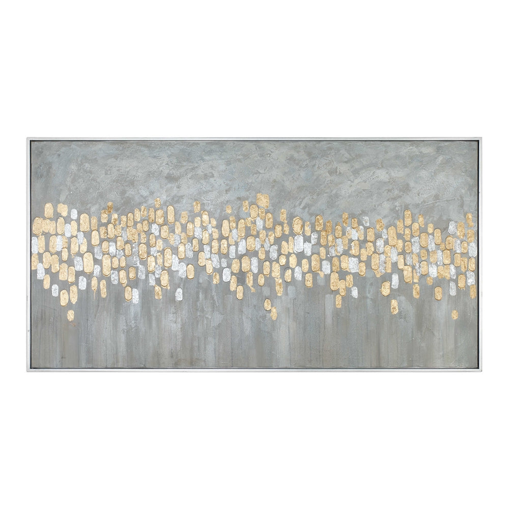 Oversized Abstract Parade Artwork – Gold & Silver