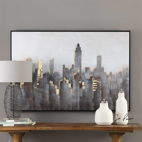 Oversized Impressionist Skyline Artwork with Gold Highlights