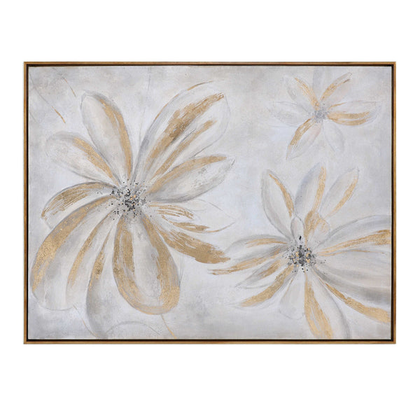 Oversized Golden Daisies Artwork – Gold & Grey