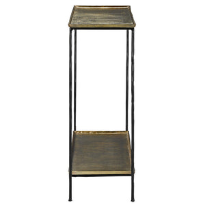 Currey and Company Two-Tiered Iron & Aluminum Console with Antique Brass Finish