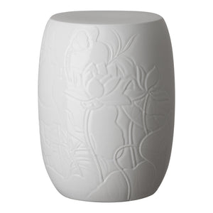 Lotus Engraved Garden Stool – White Glaze
